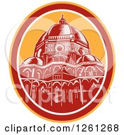 Clipart Of A Retro Woodcut Scene Of The Dome Of Florence Cathedral Or Il Duomo In Piazza Del Duomo Firenze Italy Royalty Free Vector Illustration