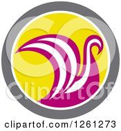 Pink And White Viking Ship Or Swan In A Taupe White And Yellow Circle