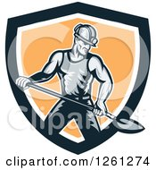 Clipart Of A Retro Coal Miner Man Shoveling In A Black White And Orange Shield Royalty Free Vector Illustration