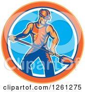 Clipart Of A Retro Coal Miner Man Shoveling In An Orange Blue And White Circle Royalty Free Vector Illustration