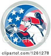 Clipart Of A Baseball Pitcher Throwing In An American Flag Circle Royalty Free Vector Illustration