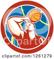 Clipart Of A Basketball Player In A Circle Royalty Free Vector Illustration