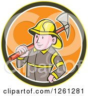 Clipart Of A Cartoon Fireman With An Axe In A Yellow Brown White And Orange Circle Royalty Free Vector Illustration
