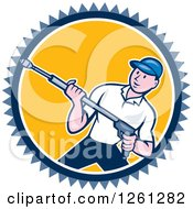 Cartoon Male Pressure Washer Worker In A Blue White And Yellow Circle