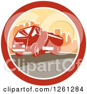 Clipart Of A Retro Sewage Truck In A City Circle Royalty Free Vector Illustration by patrimonio