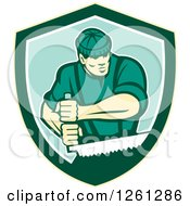 Clipart Of A Retro Male Lumberjack Using A Crosscut Saw In A Shield Royalty Free Vector Illustration