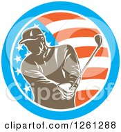 Clipart Of A Retro Male Golfer Swinging In An American Flag Circle Royalty Free Vector Illustration