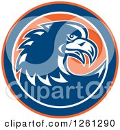 Clipart Of A Retro Raptor Or Eagle In An Orange Blue And White Circle Royalty Free Vector Illustration