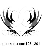Clipart Of A Black And White Wing Shield Royalty Free Vector Illustration
