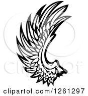 Clipart Of A Black And White Feathered Wing Royalty Free Vector Illustration by Chromaco