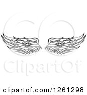 Clipart Of Black And White Feathered Wings Royalty Free Vector Illustration