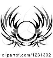 Clipart Of A Black And White Wing Shield Royalty Free Vector Illustration by Chromaco