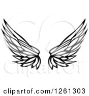 Clipart Of Black And White Feathered Wings Royalty Free Vector Illustration by Chromaco