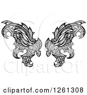 Clipart Of Black And White Fairy Wings Royalty Free Vector Illustration