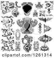 Clipart Of Black And White Frames And Tribal Design Elements Royalty Free Vector Illustration