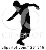 Black Silhouetted Male Athlete Discus Thrower