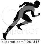 Clipart Of A Black Silhouetted Male Athlete Sprinter Royalty Free Vector Illustration