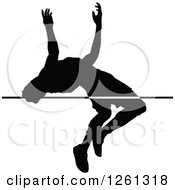 Clipart Of A Black Silhouetted Male Athlete High Jumper Royalty Free Vector Illustration