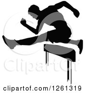 Clipart Of A Black Silhouetted Male Athlete Runner Leaping Over A Hurdle Royalty Free Vector Illustration