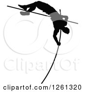 Clipart Of A Black Silhouetted Male Athlete Pole Vaulter Royalty Free Vector Illustration