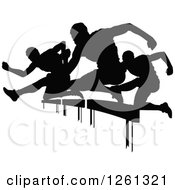 Clipart Of Black Silhouetted Male Athlete Runners Leaping Over Hurdles Royalty Free Vector Illustration