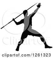 Clipart Of A Black Silhouetted Male Athlete Javelin Thrower Royalty Free Vector Illustration by Chromaco