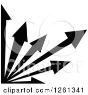 Clipart Of A Black And White Corner Arrow Design Royalty Free Vector Illustration by Chromaco