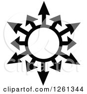 Clipart Of A Black And White Arrow Globe Design Royalty Free Vector Illustration by Chromaco