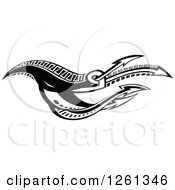 Clipart Of A Black And White Tribal Arrow Design Royalty Free Vector Illustration by Chromaco