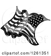 Clipart Of A Black And White American Flag Royalty Free Vector Illustration by Chromaco
