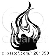 Clipart Of A Black And White Fire Design Element Royalty Free Vector Illustration