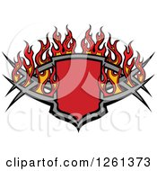 Clipart Of A Flaming Tribal Shield Design Element Royalty Free Vector Illustration
