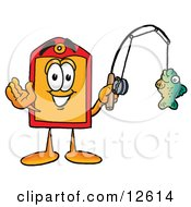 Clipart Picture Of A Price Tag Mascot Cartoon Character Holding A Fish On A Fishing Pole