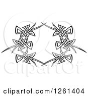 Clipart Of A Black And White Tribal Frame Design Element Royalty Free Vector Illustration