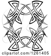 Clipart Of A Black And White Tribal Design Element Royalty Free Vector Illustration