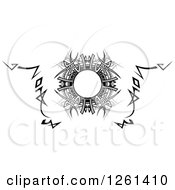 Clipart Of A Grayscale Tribal Frame Design Element Royalty Free Vector Illustration