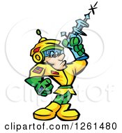 Clipart Of A Space Man Shooting A Ray Gun Royalty Free Vector Illustration by Chromaco