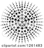 Clipart Of A Black And White American Star Burst Royalty Free Vector Illustration