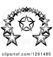Clipart Of A Grayscale Star Arch Royalty Free Vector Illustration by Chromaco