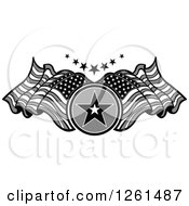 Clipart Of A Grayscale Star And American Flag Design Element Royalty Free Vector Illustration