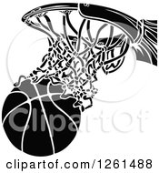 Black And White Basketball Going Through A Hoop