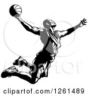 Clipart Of A Black And White Basketball Player In Action Royalty Free Vector Illustration by Chromaco