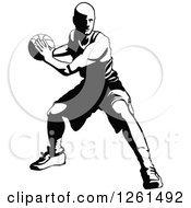 Black And White Basketball Player In Action
