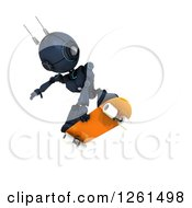 Clipart Of A 3d Blue Android Robot Playing Skateboarding Royalty Free Illustration by KJ Pargeter