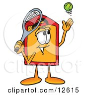 Clipart Picture Of A Price Tag Mascot Cartoon Character Preparing To Hit A Tennis Ball