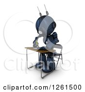 Clipart Of A 3d Blue Android Robot Student Writing At A Desk Royalty Free Illustration