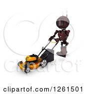 Clipart Of A 3d Blue Android Robot Pushing A Lawn Mower Royalty Free Illustration