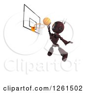 Clipart Of A 3d Red Android Robot Playing Basketball Royalty Free Illustration by KJ Pargeter