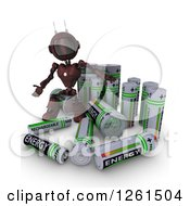 Clipart Of A 3d Red Android Robot With Batteries Royalty Free Illustration