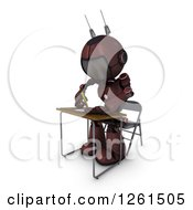 Clipart Of A 3d Red Android Robot Student Writing At A Desk Royalty Free Illustration